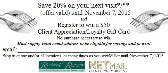 Review coupon print this client appreciation certificate fill in your email address and give it to the staff enjoy a 20 savings on your visit yelopaper Gallery